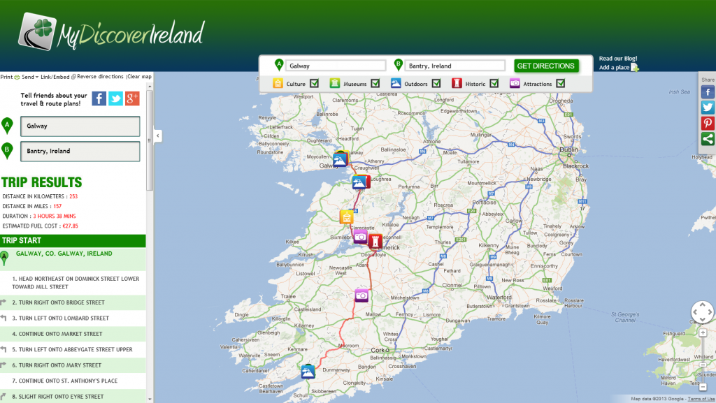 Build your Irish road trip with MyDiscoverIreland Got Ireland – World Travel Map Planner