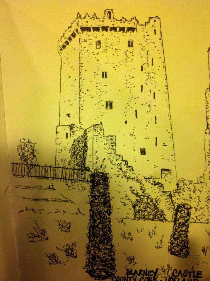 Blarney Castle sketch, drawings of irish castles