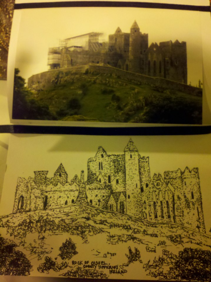 Rock of Cashel pen and ink sketch