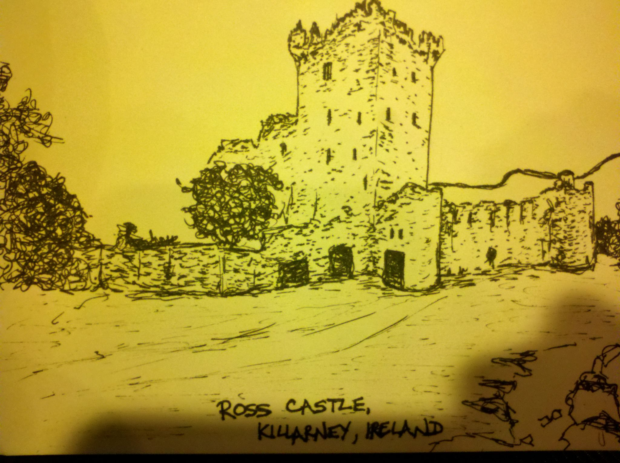 Ross Castle pen and ink sketch,drawings of irish castles