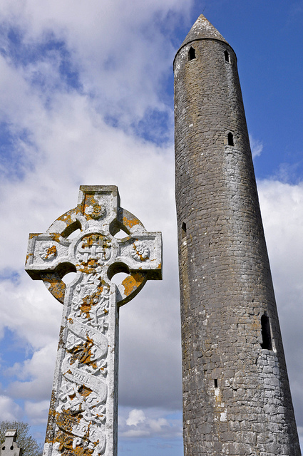 Kilmacduagh Celtic Cross and Round Tower