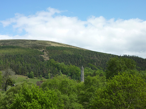 Glendalough Round Tower and the Wicklow Mountains National Park