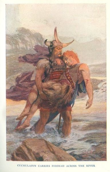 Cuchulainn carries Ferdiad across the river